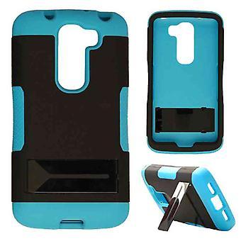 Hopper Protector kotelo LG G2 Mini (musta iho ja fluoresoiva Pearl sininen Snap jalustalla)