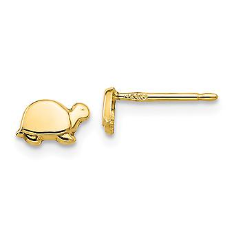 14k Yellow Gold Polished Open back Post Earrings Mini Turtle for boys or girls Earrings - Measures 5x7mm