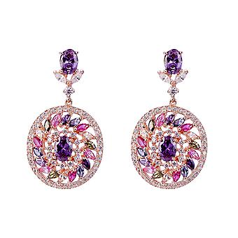 Orphelia Silver 925 Earring Rose with Multicolored Stones and Zirconium - ZO-7428/RG