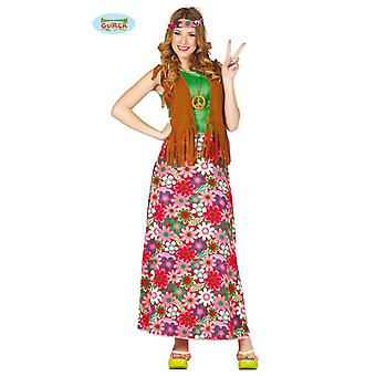 Happy Hippie ladies costume 70s themed party dress Carnival flower child of flower power
