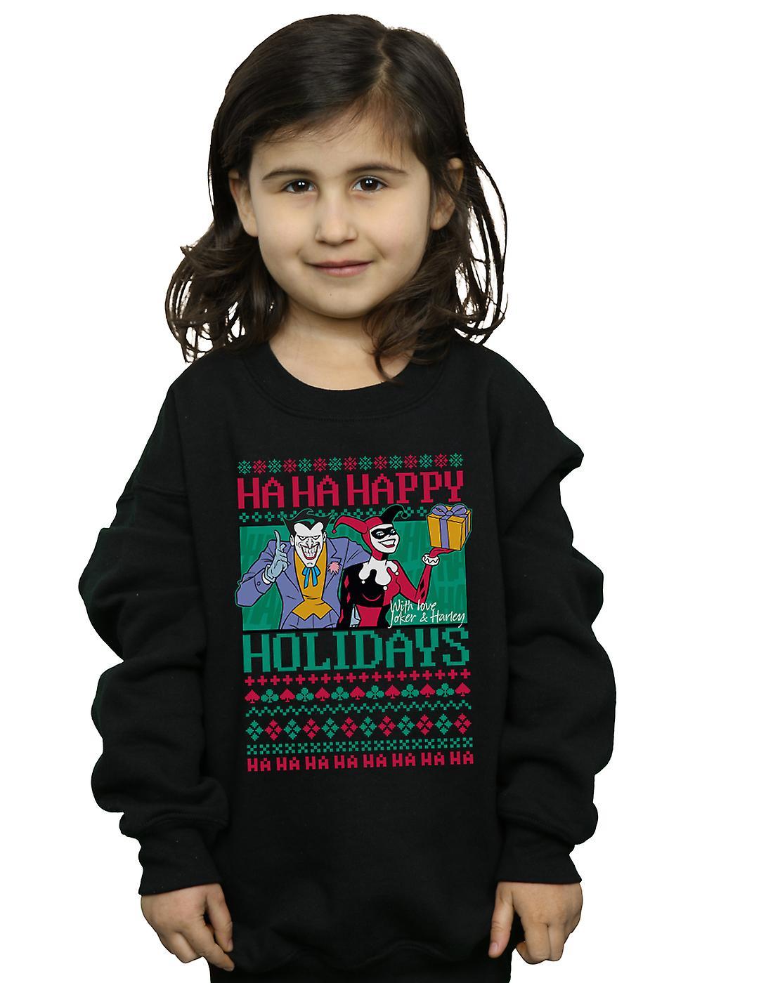 DC Comics Girls Joker And Harley Quinn Ha Ha Happy Holidays Sweatshirt