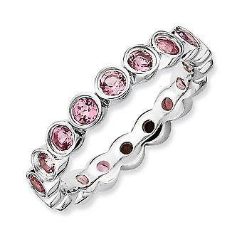 925 Sterling Silver Bezel Polished Patterned Rhodium plated Stackable Expressions Pink Tourmaline Ring Jewelry Gifts for