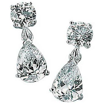 Beginnings Cubic Zirconia Round and Teardrop Drop Earrings - Silver/Clear