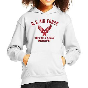 US Airforce Keesler AF Base Mississippi röd Text Kid är Hooded Sweatshirt