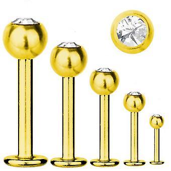 Labret Bar Tragus Piercing guld pläterad Titanium 1,6 mm, SWAROVSKI element vit | 5-16 mm
