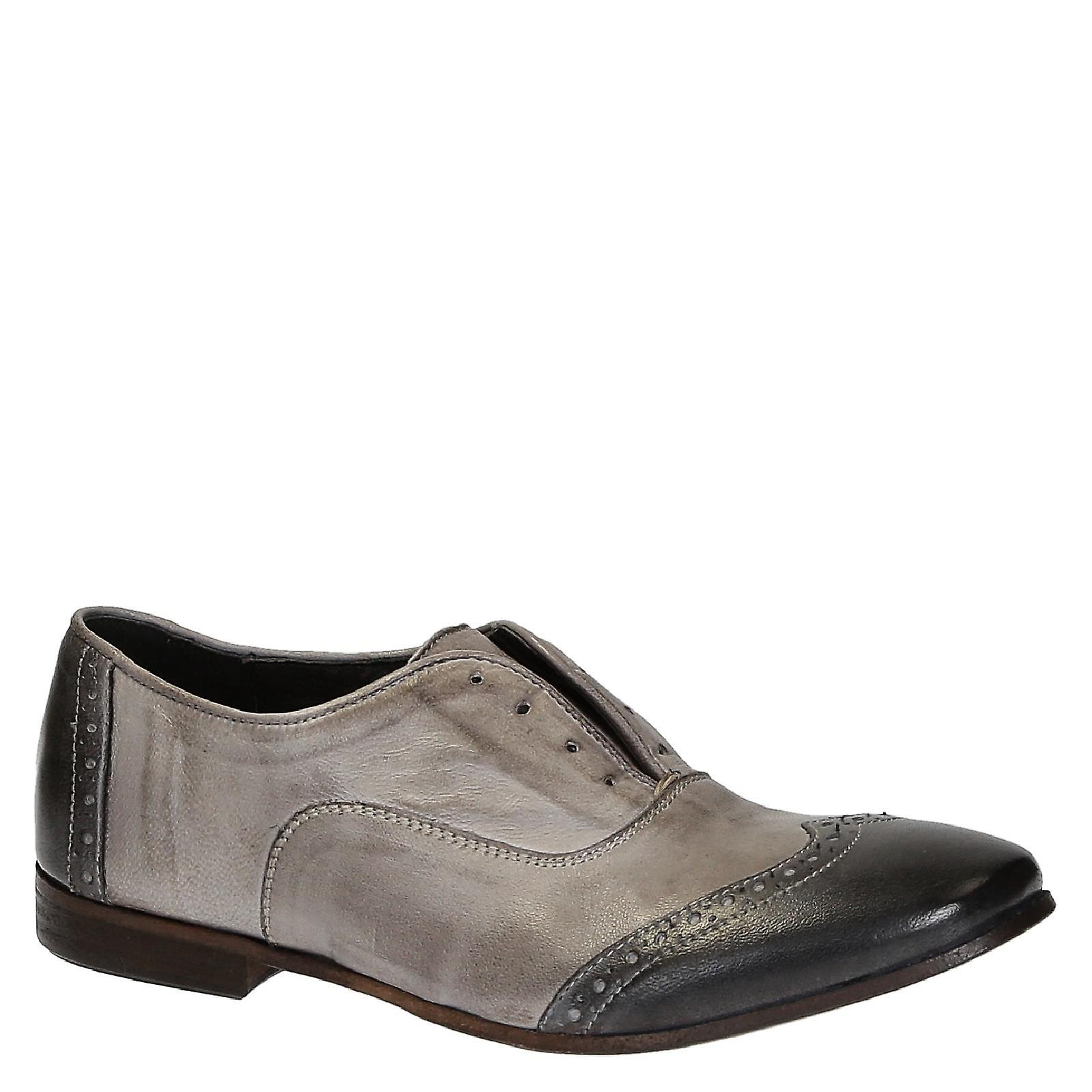 Handmade women's slip-on oxford wingtip shoes in leather XHTKp