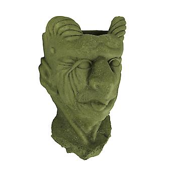 Designer Stone Mossy Green Gargoyle Head Concrete Wall Mounted Planter
