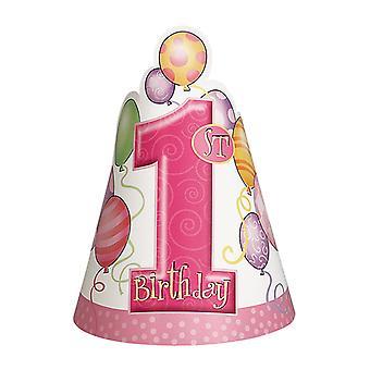Eerste verjaardag Pink feest hoeden