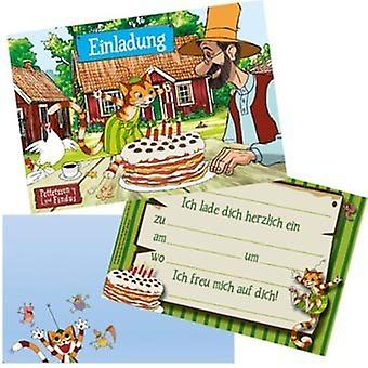 Pettson and Findus party original invitations with cover 8 piece children's birthday decoration