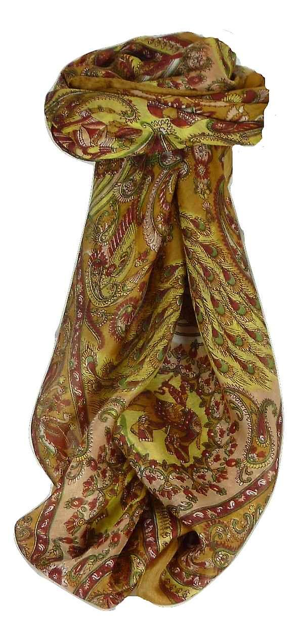 Mulberry Silk Traditional Square Scarf Vashta Gold by Pashmina & Silk