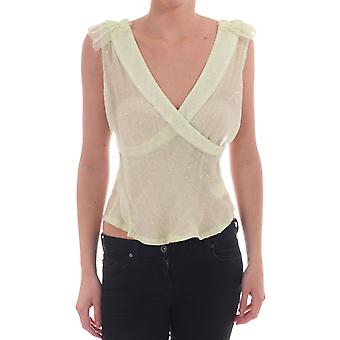 Day V Neck Frill Sleeveless Top With Gold Thread Detai