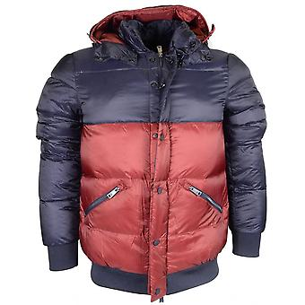 Emporio Armani Down Puffer Zip Up Navy/red Jacket