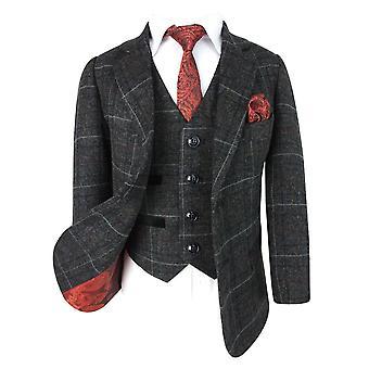 Paul Andrew Men's & Boys  Check Tweed Retro Suit in Charcoal Grey