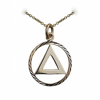 9ct Gold 21mm round diamond cut edge Alcoholics Anonymous Pendant with a cable Chain 20 inches