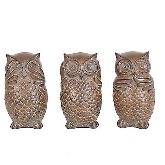 Conjunto de 3 figuras decorativas coruja, Brown