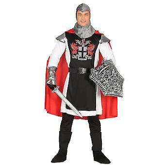 Mens Silver & röda medeltida riddare Fancy Dress kostym
