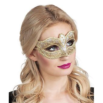 Womens Venice Felina Gold Eye Mask Carnival Fancy Dress Accessory