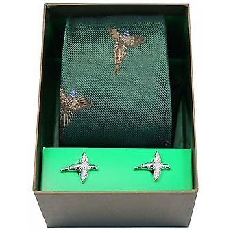 David Van Hagen Flying fagiani cravatta e gemelli Set - verde bosco