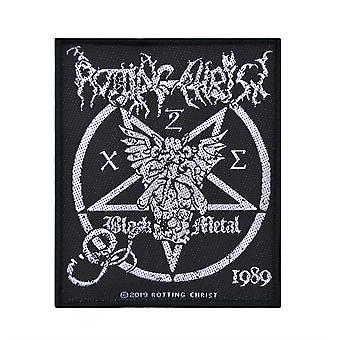 Rot Christus zwarte metalen geweven Patch
