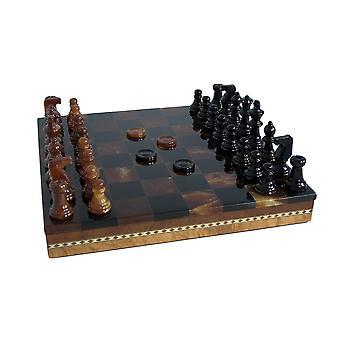 Black & Brown Alabaster Inlaid Chest Chess Set