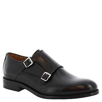 Leonardo Shoes man's handmade double monk shoes in black leather