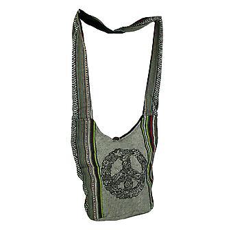 Segno di pace mod tribale striscia Boho cotone Crossbody Bag