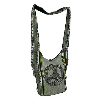 Mod Peace Sign Tribal Stripe Boho Cotton Crossbody Bag
