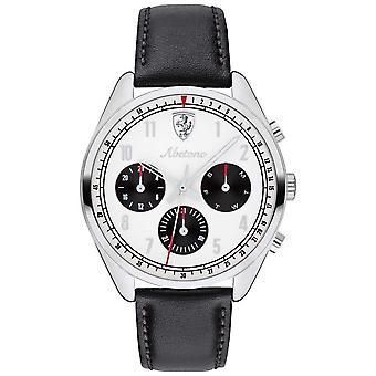 Scuderia Ferrari Mens Abetone Black Leather Strap White Dial 0830569 Watch