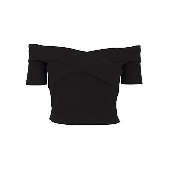 Urban Classics Damen T-Shirt Off Shoulder Cross Rib