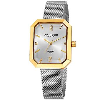 Akribos XXIV Women es Quartz Genuine Diamond Mesh Bracelet Watch AK909TTG