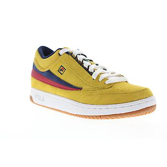 Fila T-1 Mid  Mens Yellow Suede Casual Low Top Sneakers Shoes