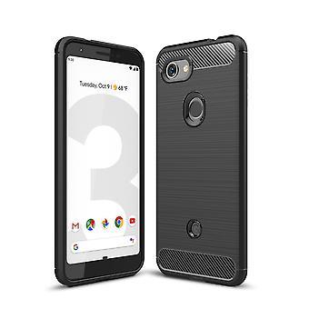 Google pixel 3A TPU caso de fibra de carbono óptica cepillado funda de protección negro