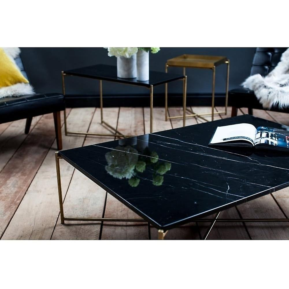 Gillmore Black Marble Rectangular Side Table With Brass Cross Base