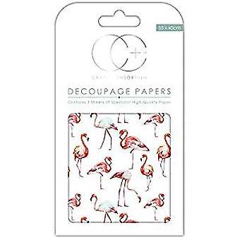 "Craft Consortium Decoupage Papers 13.75""X15.75"" 3/Pkg-Flamingos"