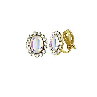 Eternal Collection Majesty Aurora Borealis Crystal Gold Tone Stud Clip On Earrings