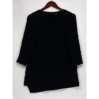 H par Halston Top Scoop Neck Français Terry 3/4 Sleeve Black A344140