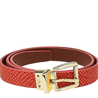 Isaac Mizrahi Live! Reversible Leather Strap Belt M L Coral Cognac A264211