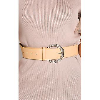 IKRUSH Womens Rita Faux Leather Round Buckle Belt