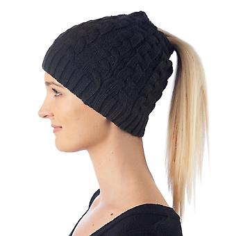 Beanie Cap - Cable Stitch Pony tail New be5pa3plw