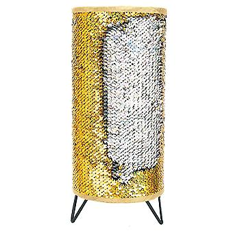 Modern Designer Gold and Silver Shiny Sequin Table Lamp with Tripod Metal Feet