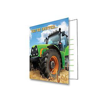 Trattore partito invito 8 pezzo Farm macchine agricole Trecker giorno di nozze dei bambini