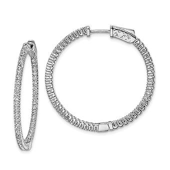 925 Sterling Silver Silver Polished Hinged hoop Safety clasp Rhodium banhadcz Cubic Zirconia Simulated Diamond Round Hoop Earr