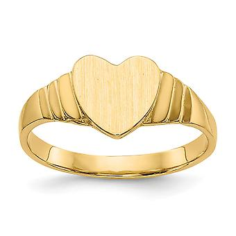 14k Yellow Gold Solid Polished Engravable Baby Heart Signet Ring - 1.7 Grams