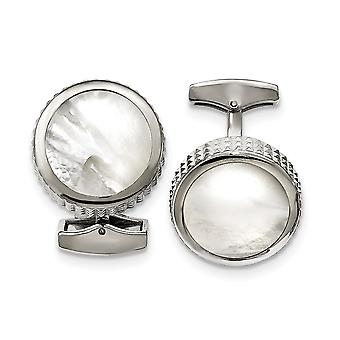 Stainless Steel Polished Studded Round Simulated Mother of Pearl Cuff Links Jewelry Gifts for Men