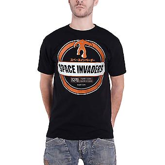 Space Invaders T Shirt Monster Invader Logo new Official retro gamer Mens Black