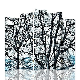 Dekorativa rumsavdelare, 5 paneler, duk, grenar av träd 1