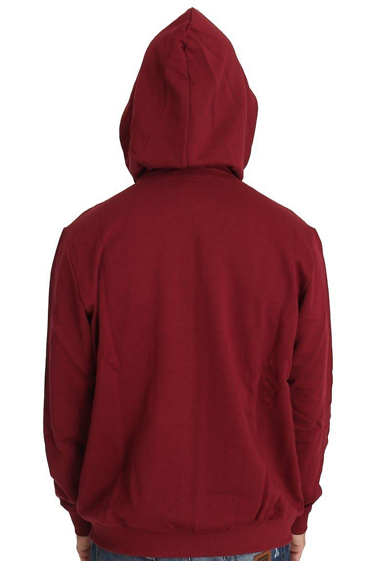 Hooded Red Cotton Full Zipper  Sweater