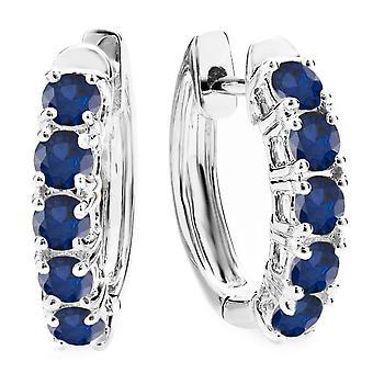 Dazzlingrock Collection 10K Round Blue Sapphire Ladies Huggies Hoop Earrings, White Gold