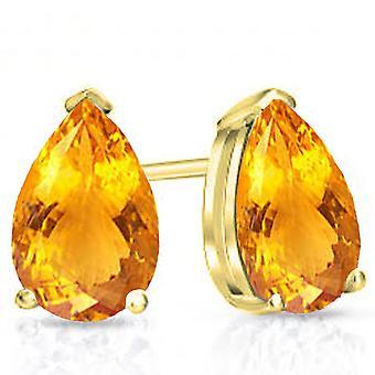Dazzlingrock collectie 14K 7 x 5 MM elke pear Citrien dames Solitaire Stud Earrings, geel goud