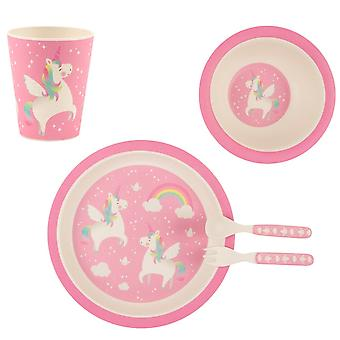 Sass & Belle Rainbow Unicorn Eco Bamboo Tableware Set